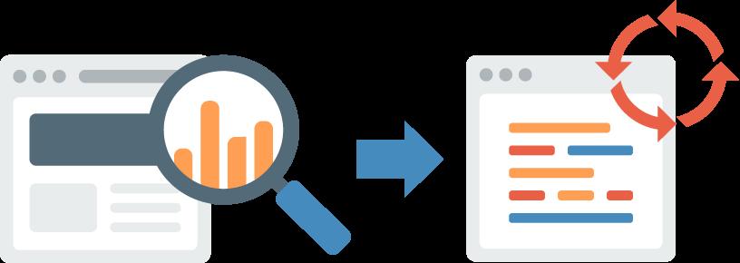 検索や広告の反応を解析し、的確な手段で目標到達に導いていく選択のイラスト